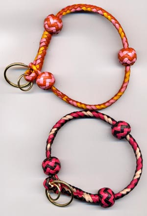 tan/pink, yellow double slashes & chocolate/pink, natural double slashes for toy breeds